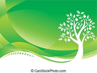 háttér, fa, zöld