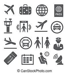 háttér, fehér, állhatatos, repülőtér, ikonok