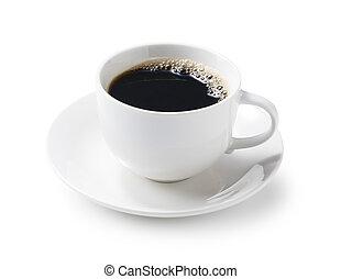 háttér, fehér, forró kávé