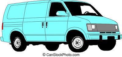 háttér., fehér, furgon, felszabadítás