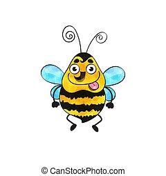 háttér., fehér, ikon, elszigetelt, méh