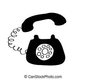 háttér., fehér, retro, telefon, jelkép.