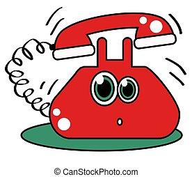 háttér., fehér, telefon, piros, retro