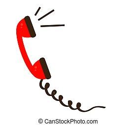 háttér., fehér, telefon, piros, telefonkagyló