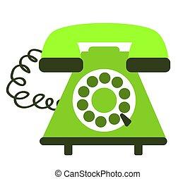 háttér., fehér, zöld, telefon, retro