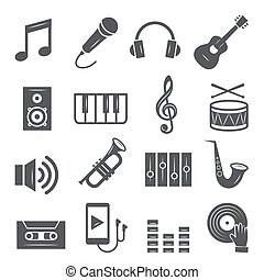 háttér, fehér, zene, állhatatos, ikonok