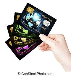 háttér, felett, kéz, hitel, birtok, kártya, fehér