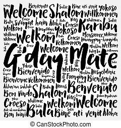 háttér, felhő, társ, nyelvek, g'day, szó, australian), (welcome, különböző, fogalmi