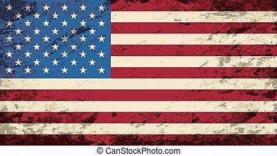 háttér., flag., amerikai, grunge