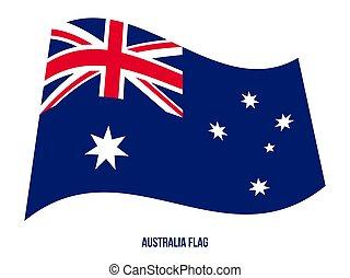 háttér., flag., lobogó, nemzeti, ausztrália, fehér, hullámzás, vektor, ábra