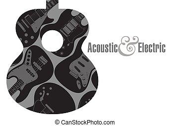 háttér, gitár, poszter, elektromos, akusztikai