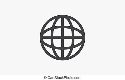 háttér., globe., ikon, elszigetelt, white megtölt