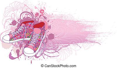 háttér, gumitalpú cipő, elvont