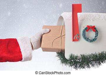 háttér, havas, postaláda, szent, csomag