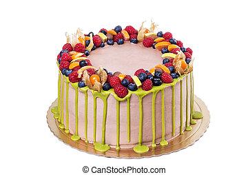 háttér., holiday., születésnap, finom, torta, fehér, vagy
