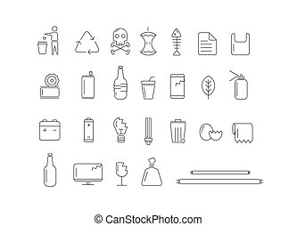 háttér., hulladék, fehér, különböző, ikon, írógépen ír