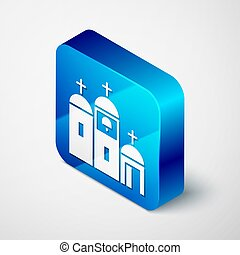 háttér., ikon, vallás, szürke, templom, ábra, elszigetelt, derékszögben, kék, isometric, keresztény, vektor, button., épület, church.