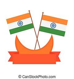 háttér, india, white szalag, zászlók, hold, dekoráció