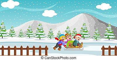 háttér, játék, lovagol, hegy, gyerekek, boldog, tél, sleigh