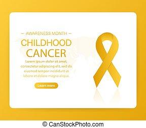háttér, jelkép., világ, vektor, gyermekkor, ribbon., illustration., rák, gyakorlatias, arany