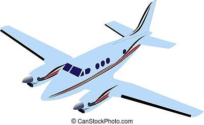 háttér., kék, fehér, repülőgép, twin-engine, utas