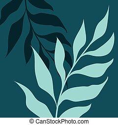 háttér, két, tropikus, leaves., zöld, vektor