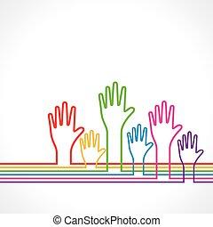 háttér, kéz, színes
