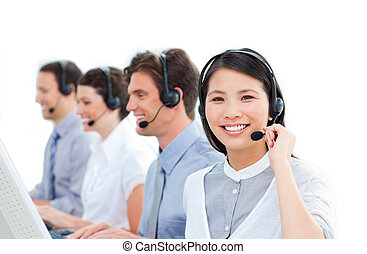 háttér, középcsatár, ellen, csoport, dolgozó, hívás, ügynökök, vásárló, fehér, szolgáltatás, egyesült