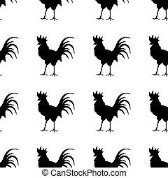 háttér., kakas, árnykép, fehér, fekete