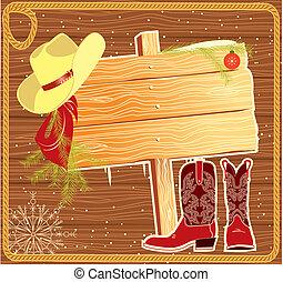 háttér, karácsony, hirdetőtábla, vektor, cowboy, keret, hat.