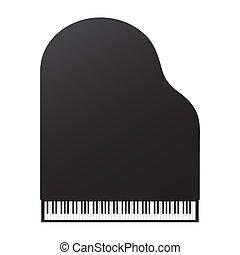 háttér., kilátás, fehér, nagy, tető, zongora