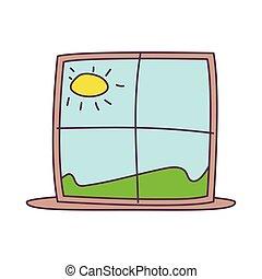 háttér, kilátás, táj, ablak, fehér