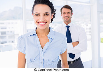 háttér, kolléga, hím, mosolygós, üzletasszony