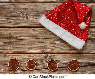 háttér, mandarines, frame., tető, nézet., kalap, christmas holiday, asztal., dal, tél, másol világűr, fából való, lakás