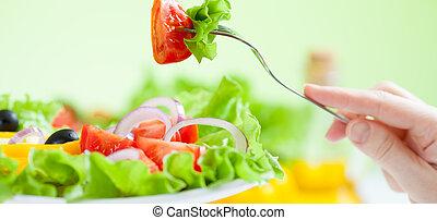 háttér, növényi, étkezési, saláta zöld, egészséges