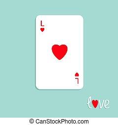 háttér, nagy, szív, aláír, játék, lakás, szeret, piszkavas, piros, tervezés, kártya