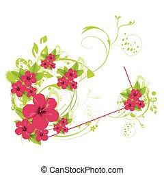háttér, nyár, virágos