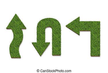 háttér, nyíl, elszigetelt, felszín, fehér, zöld fű