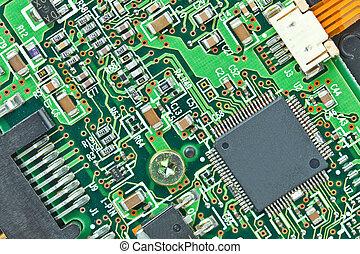 háttér, printed-circuit, makro, modern, bizottság, alkatrészek, elektronikus