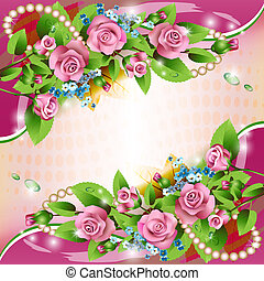 háttér, rózsaszín rózsa