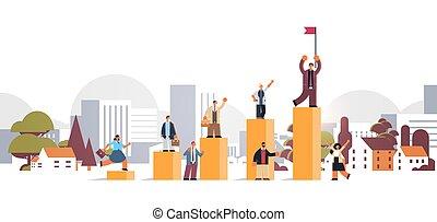 háttér, siker, karrier, cityscape, győz, mászó, businesspeople, anyagi fogalom, lakás, lobogó, hosszúság, tele, létra, üzletember, bár, tető, horizontális, ábra
