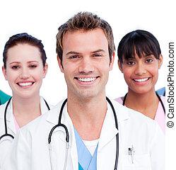háttér, sportcsapat portré, ellen, pozitív, fehér, orvosi