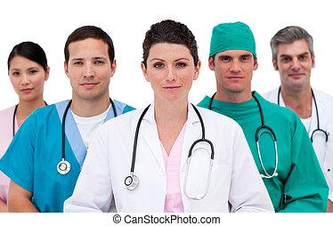háttér, sportcsapat portré, fehér, ellen, gondolkodó, orvosi