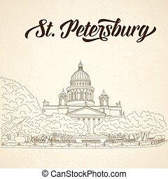 háttér., székesegyház, szüret, isaac's, oroszország, szent, petersburg, vázlat, szt.
