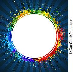 háttér., szín, keret, gradiens, vektor, loccsan, kerek