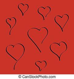 háttér., szív alakzat, világos piros