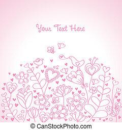 háttér, szív, rózsaszínű, virágos