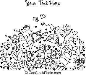háttér, szív, virágos