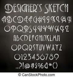 háttér, tábla, ábra, kréta, vektor, betűk, sketched