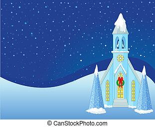 háttér, tél, christmas táj